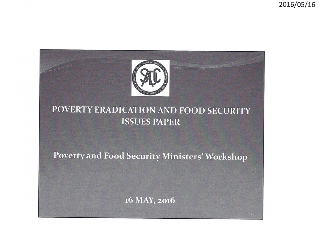 Poverty Eradication and Food Security Issues Paper | CCARDESA